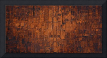 Abstract art in congnac burnt orange