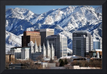 Downtown slc tall buildings surround temple