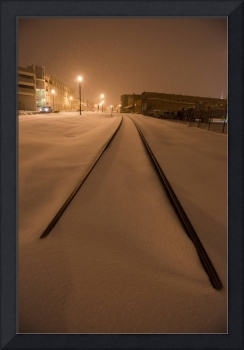 Snow on train tracks in Johnson City, Tennessee