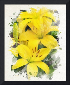 Yellow Lilies Watercolor Painting