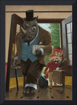 Rhino in suit entering hotel with fox as porter