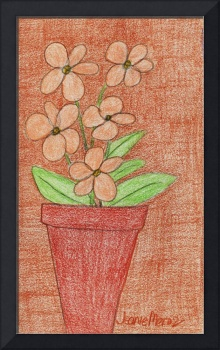 Peach Flowers in Red on Brown