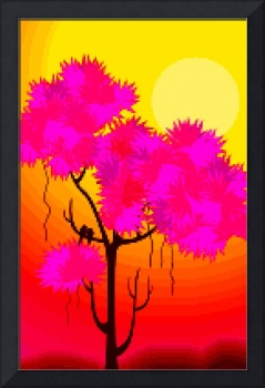 Digital painting of tree during sunset