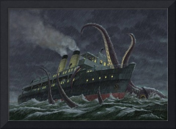 Giant Squid attacking ship during a storm