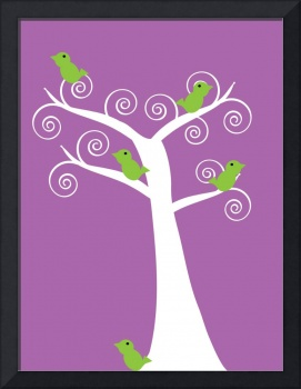 5 green birds in a white tree purple