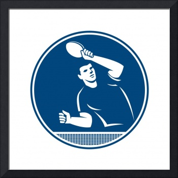 Table Tennis Player Serving Circle Icon