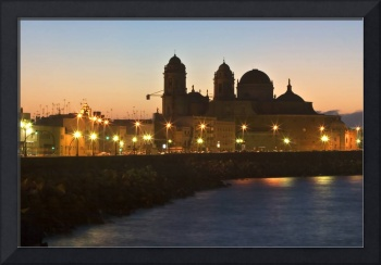 Cadiz cathedral at sunrise. Spain