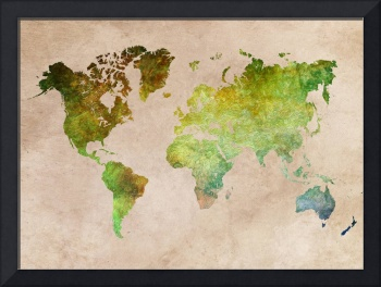 Map of the World Green