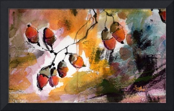 Acorns in the Wind Watercolor and Ink