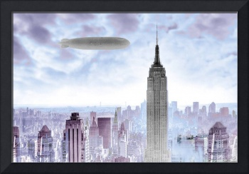 New York Skyline and Blimp