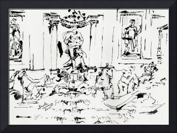 Trevi Fountain Rome Italy Ink Drawing by Ginette