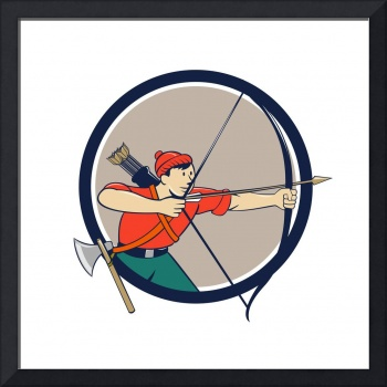 Archer Aiming Long Bow Arrow Cartoon Circle