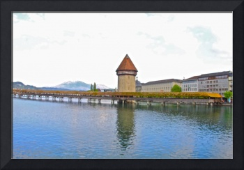 View of old bridge, Lucerne, Switzerland
