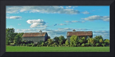 Twin Weathered Barn Reflections - 2393H