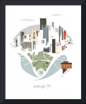 Pittsburgh Modern Cityscape Illustration