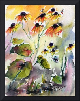 Flowers Black Eyed Susans Watercolor and Ink