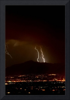 Double Lightning Bolt Over the Wasatch Mountains