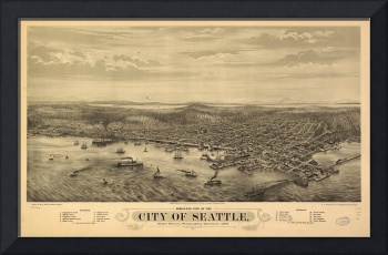 Vintage Map of Seattle Washington (1878)