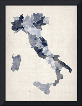 Watercolor Map of Italy