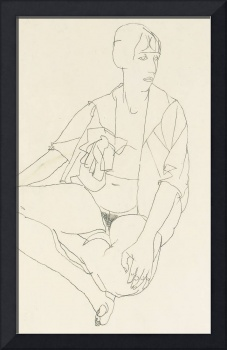Seated female nude with open blouse