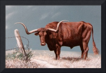 LONGHORN STEER painting