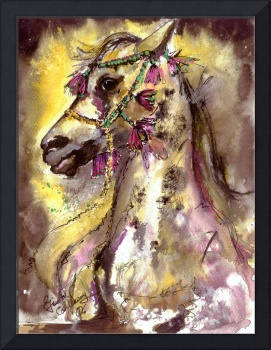 Arabian Stunning Horse Portrait in Watercolor