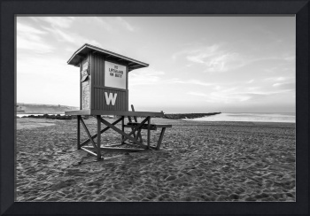 Newport Beach Wedge Lifeguard Tower Black and Whit