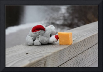 Christmas mouse with his Christmas present. Cheese