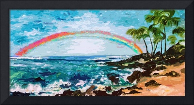 Abstract Palms Beach and Rainbow Art by Ginette