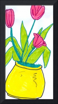 Pink Tulips in Yellow Planter