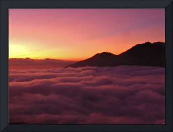 Bali Mountain Sunrise Above the Clouds