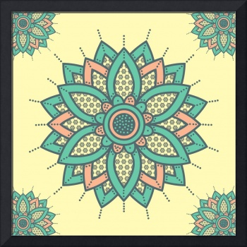 Ink Toned Flower Mandala Yellow Orange Green