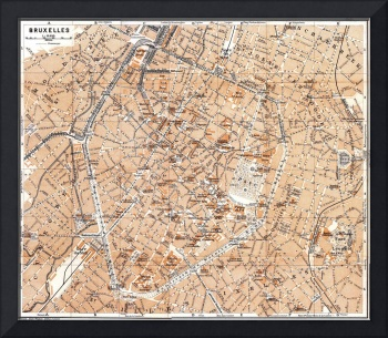 Vintage Map of Brussels Belgium (1905)