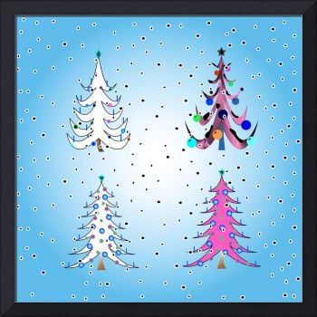 stylized christmas trees
