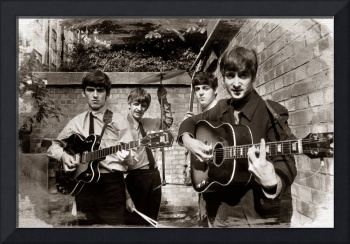 The Beatles In London 1963 Sepia Painting