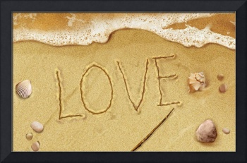 Writing Love In The Sand On The Beach