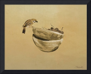 Sparrow and Bowl of cherries