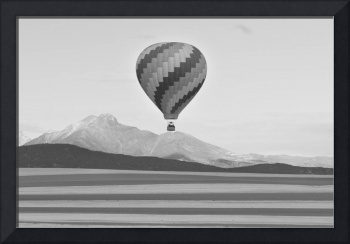 Hot Air Balloon and Longs Peak in Black and White