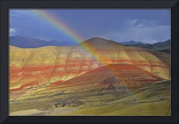 Rainbow forms before the Painted Hills