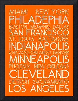 American Cities in Bus Roll Destination Map Style