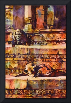 Watercolor painting of dog & Hindu temple-Nepal