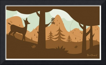 Deer in Fall Mountain Landscape