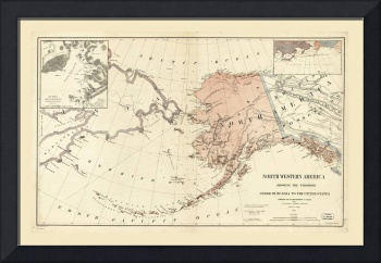 Northwestern America, Alaska Map (1867)