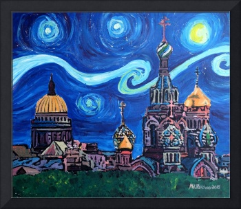 Starry Night in St Petersburg Russia