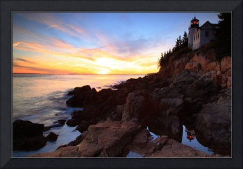 Bass Harbor Lighthouse Sunset Seascape