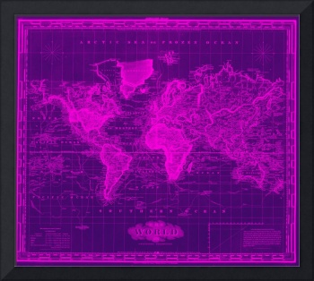 Vintage Map of The World (1833) Black & Pink