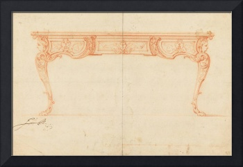 Gilles-Marie Oppenord~Elevation of a Writing Desk