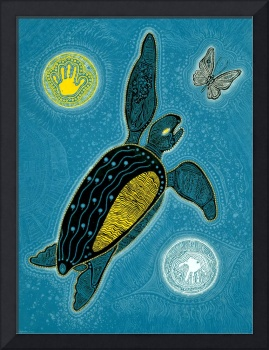 Sea Turtle and Butterfly (Pinta Blue Version)