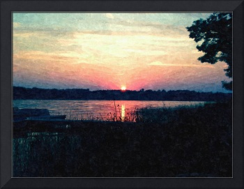 Sunset At the Lake-Oil Painting Print