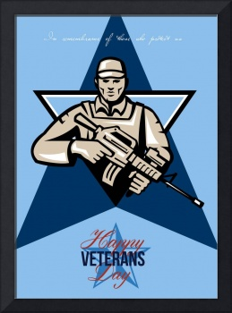 Modern Soldier Veterans Day Greeting Card Front